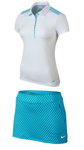 White/Clearwater & Clearwater/Lagoon Nike Ladies Golf Outfit. Pinned by lorisgolfshoppe.com