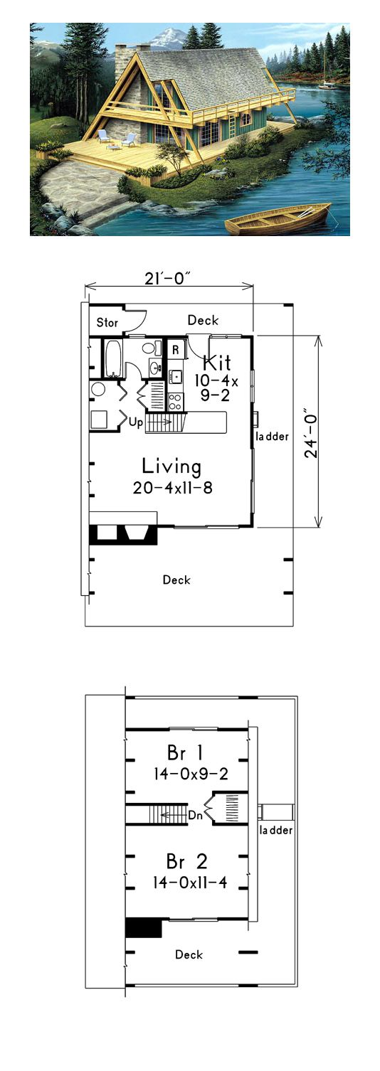 A-Frame Style COOL House Plan ID: chp-45231 | Total Living Area: 865 sq. ft., 2 bedrooms and 1 bathroom. #houseplan #aframe