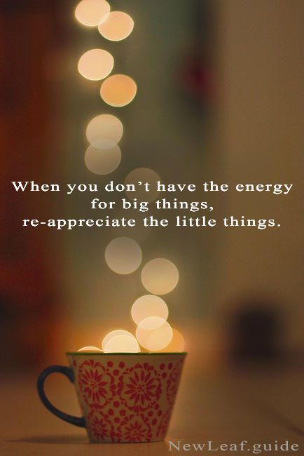 When you don't have the energy for big things, re-appreciate the little things. NewLeaf.guide - Postive Life Change Guide