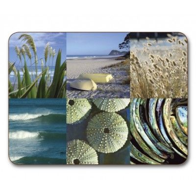 Placemats Coastal Snapshot. Six quality Jason placemats feature the Coastal Snapshot design depicting images from New Zealand's coastal beaches, Kina-New Zealand sea urchin shell and New Zealand Paua or Abalone shell. Protect furniture from staining and scratching with these placemats. Simply wipe with a damp cloth and dry with a soft cloth and they will stand the test of time. Dimensions 29 x 21.5cm (11 1/2 x 8 1/2 inches). Matching coasters available.  See more at…
