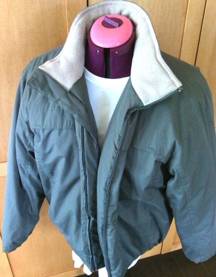 Mens Cherokee Puffer Jacket Size M Green Water Resistant Lined Medium Winter Zip