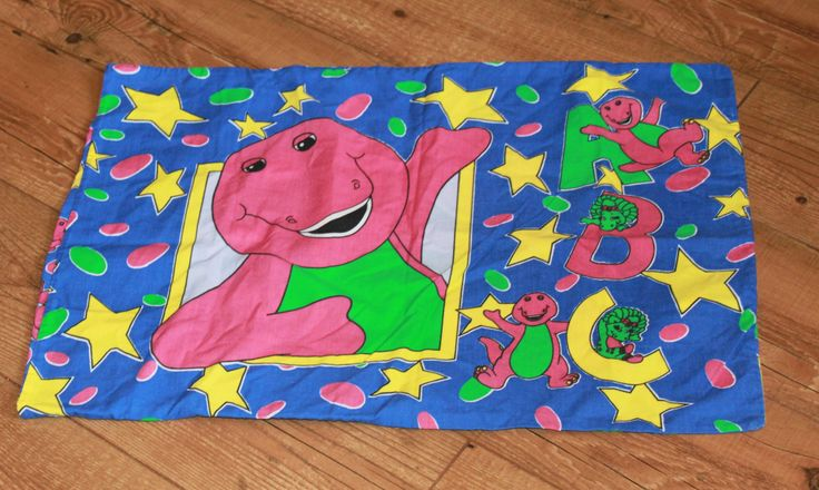 Barney the Dinosaur Pillowcase.  Great Fabric for Upcycling c1990s ABC Pattern…