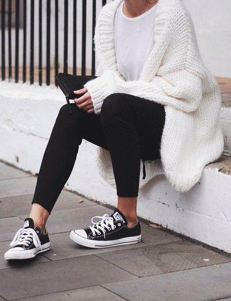 Cardigan: tumblr white chunky knit t-shirt white t-shirt leggings black leggings sneakers black