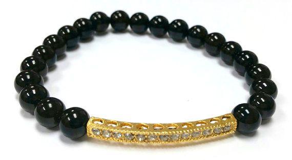Unisex Black Beaded Bracelet Gold Rhinestone by RandRsWristCandy $8 #handmade #beaded #bracelet #custom #jewelry #etsy #wristcandy