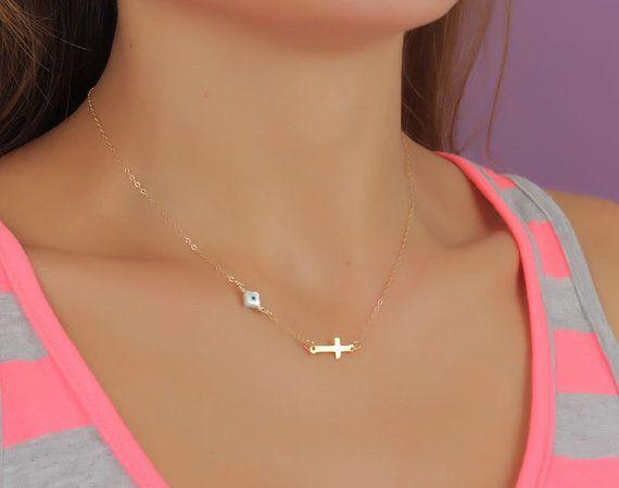 "Evil eye necklace, sideways cross necklace ""Styx-Vol2"
