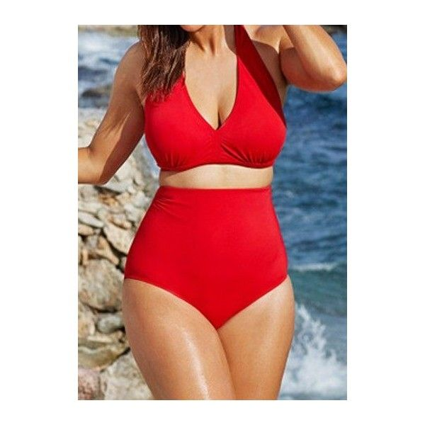 Rotita Red Halter High Waisted Bikini Two Piece Swimsuit (63 BRL) ❤ liked on Polyvore featuring swimwear, bikinis, red, red bikini swimsuit, red bikini, swimsuits bikinis, 2 piece bathing suits and high waisted two piece bathing suit