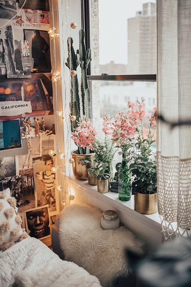 عکس استفاده از گیاهان در طراحی فضای پشت پنجره