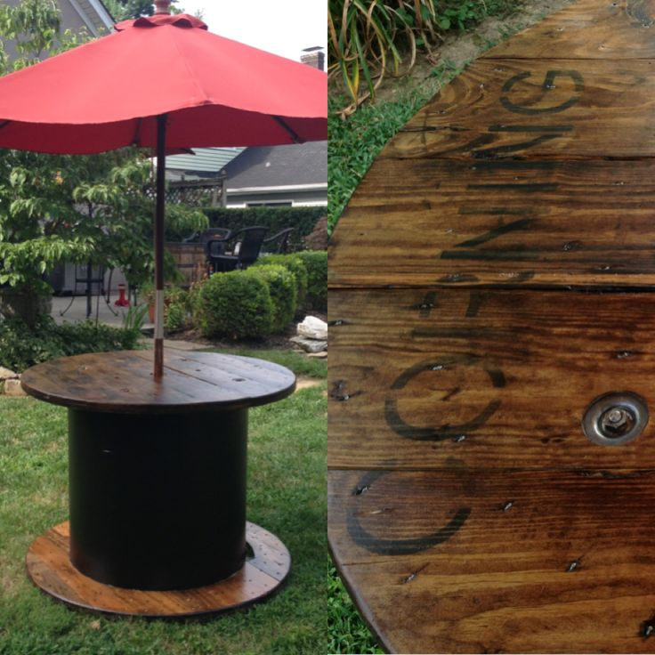 DIY cable spool table. Sanded down the wood, stained with Miniwax Provincial 211, and varnished with Miniwax outdoor polyurethane. Painted the middle cardboard with sealing primer, and black outdoor paint.
