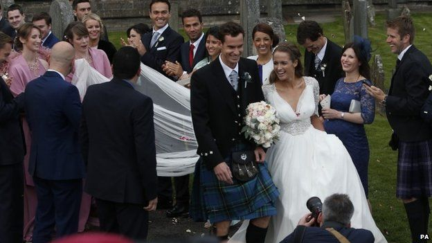 Andy Murray in a kilt and Kim Sears in a beautiful white gown tie the knot in Dunblane, Scotland.