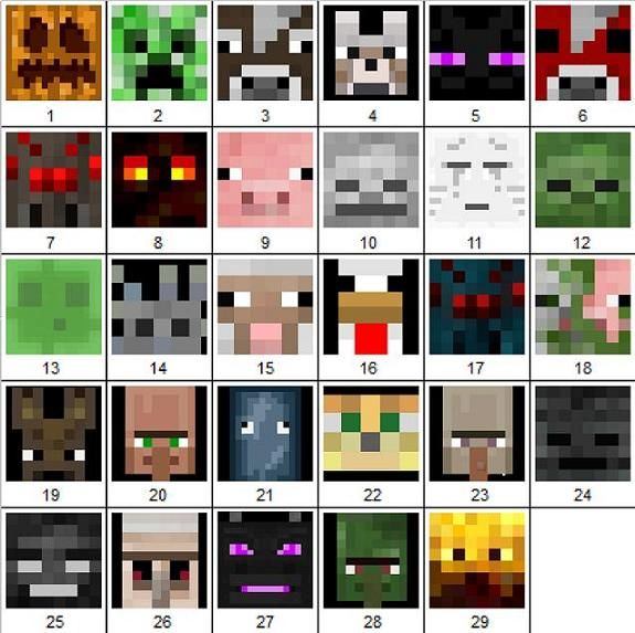 minecraft mob pictures | Can you name the Minecraft mobs by the pictures of their faces? Quiz ...