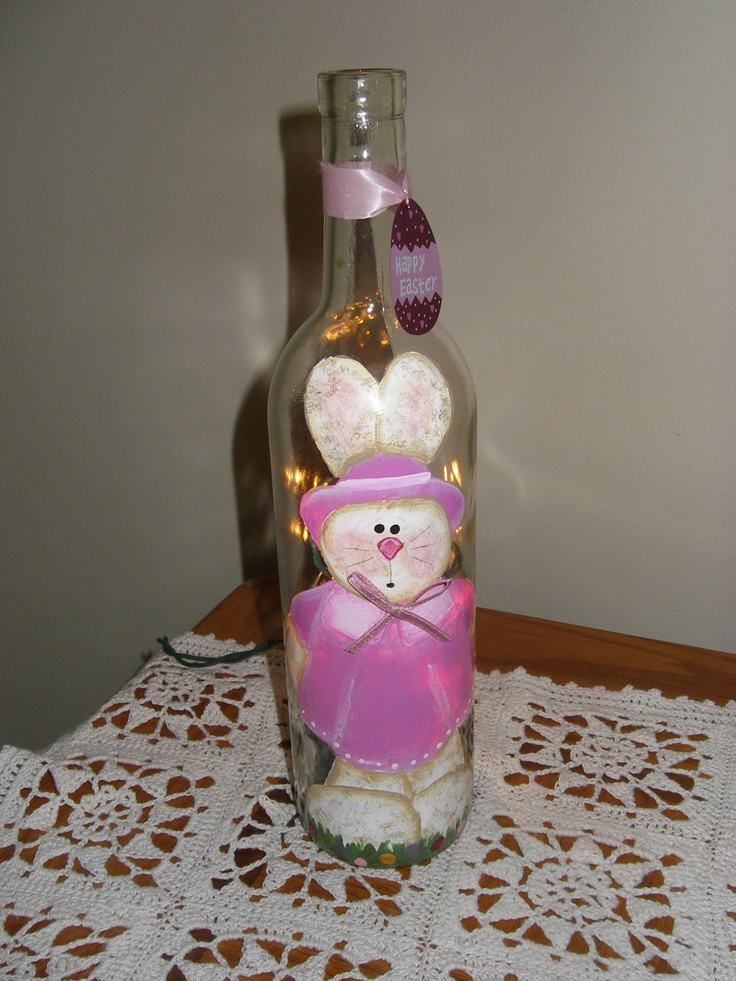 Happy Easter Wine Bottle With Lights Girl Bunny 15 00