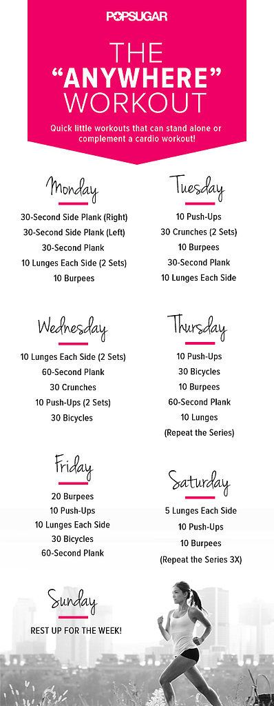 Ready to set your week up for success? Try this week-long workout plan. The best part is that you can do it anywhere — no equipment needed!