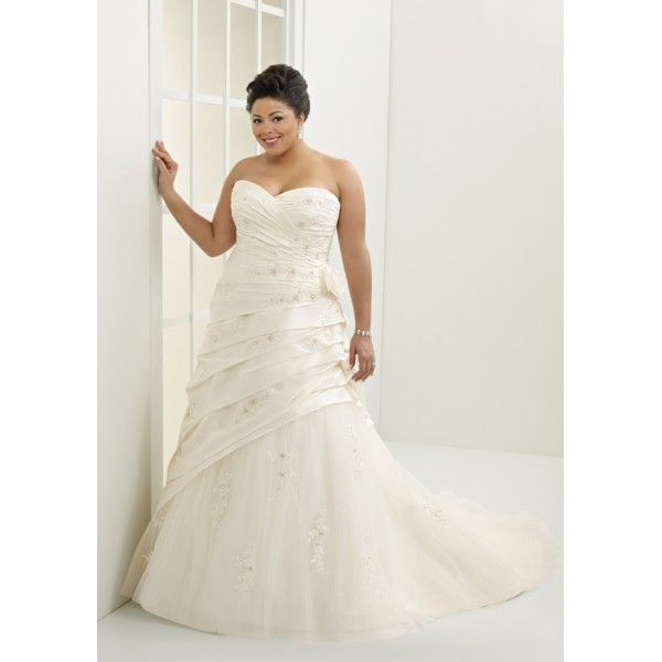 Cool Ivory Sweetheart A line Beading Embroidery Ruffle Applique Court Train Taffeta Fine Netting Plus Size Wedding Dress