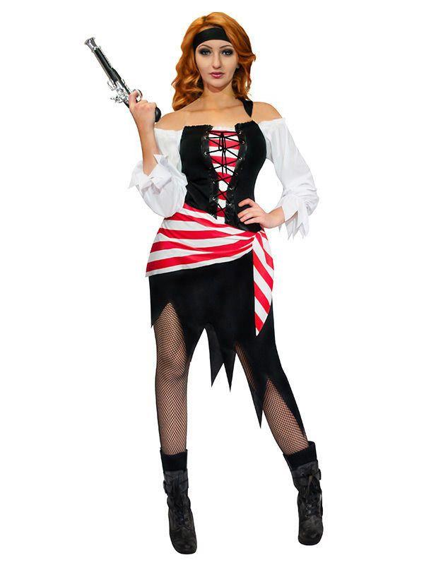 Piratin Damenkostüm Seeräuberin schwarz-weiss-rot, aus unserer Kategorie Piratenkostüme. Immer wenn diese Piratin an Deck geht, drehen sich alle Matrosen nach ihr um. Doch niemand würde sich trauen, die gefährliche Seeräuberin anzusprechen. Sie sucht sich stets selbst aus, wen sie in ihre Kajüte mitnimmt ... Ein fantastisches Damenkostüm für Karneval und Piraten-Mottopartys. #Faschingskostüm