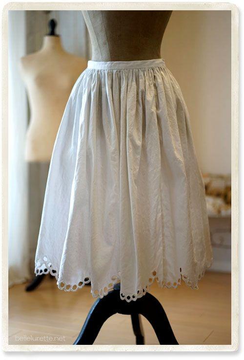 東欧 ホワイトカットワークスカート - 【Belle Lurette】ヨーロッパ フランス アンティークレース リネン服の通販
