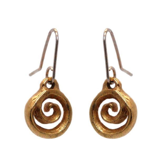Koru Drop 9ct Gold Plated - Droplets of gold spiralling into a koru centre. Solid Sterling Silver with a 9ct Gold Plate.  Also available in plain Sterling Silver.  Koru Diameter 11mm, Hook Length 12mm.