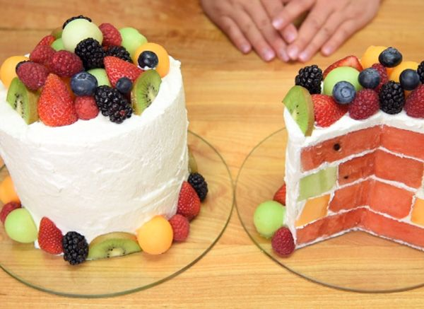 Triple Melon Cake With Cantaloupe, Watermelon And Honeydew