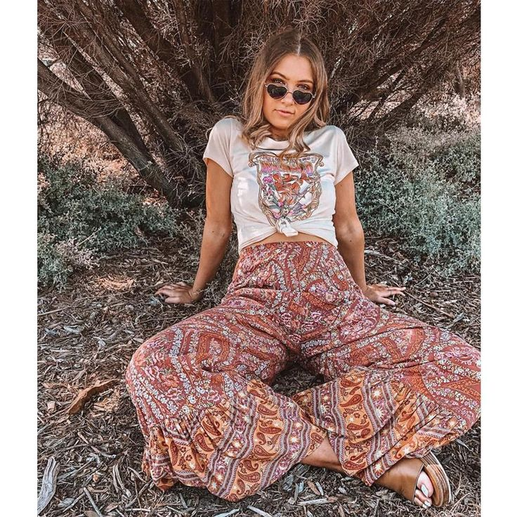 Hippie Chic Mid Waist Rayon Flare Pants & Cami Top