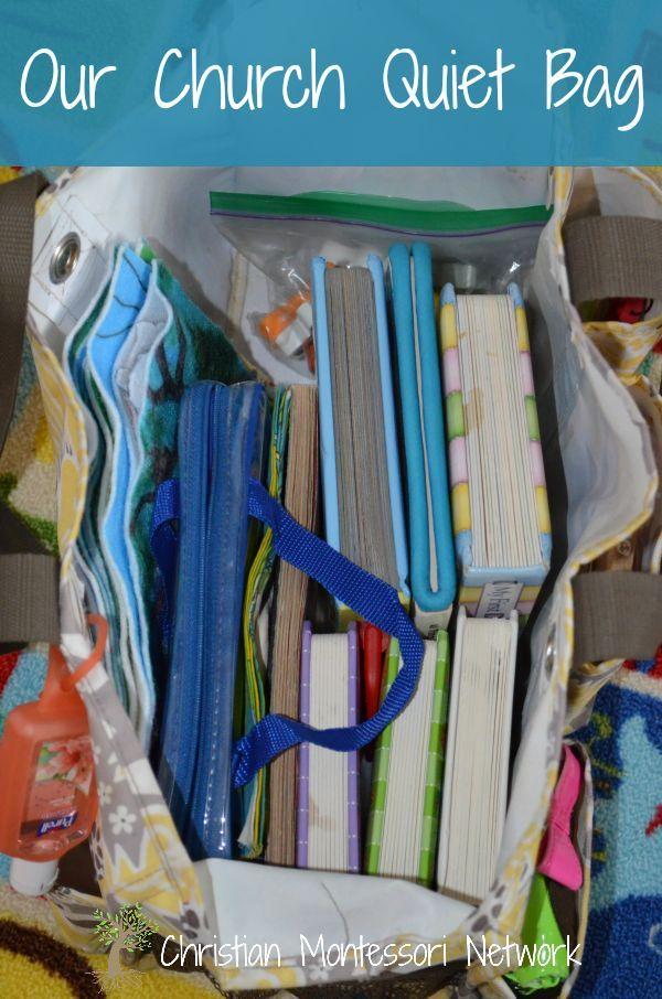 Ideas for church quiet bags for toddlers and preschoolers. www.ChristianMontessoriNetwork.com