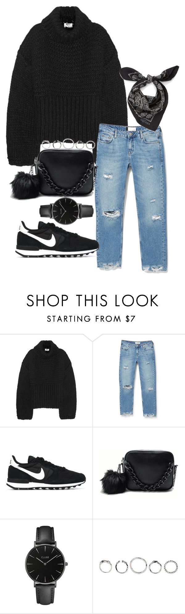 """#696"" by blendingtwostyles ❤ liked on Polyvore featuring Acne Studios, MANGO, NIKE, CLUSE and Alexander McQueen"