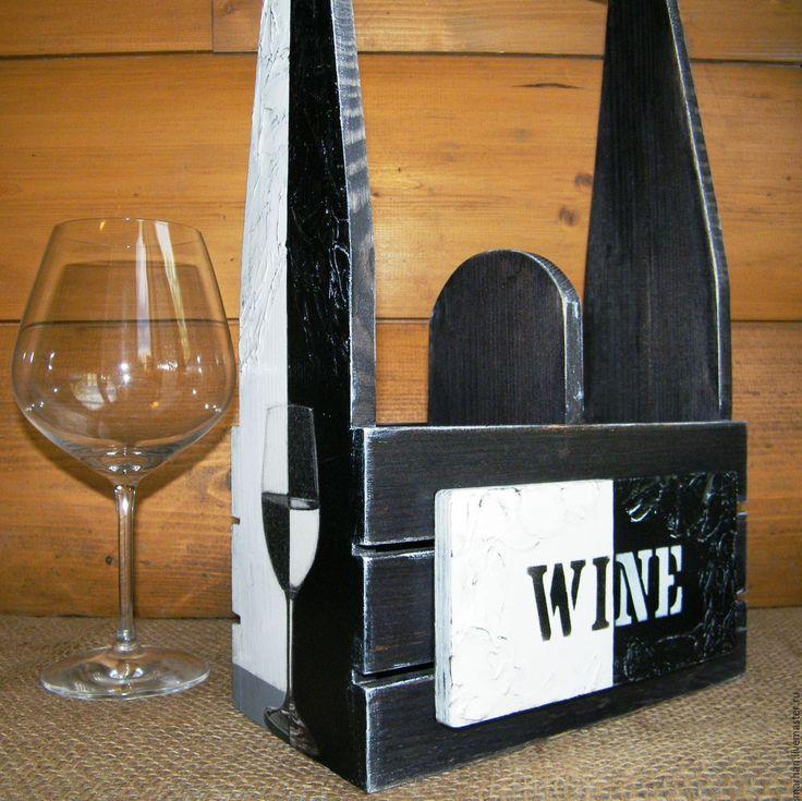 Купить Короб ящик для бутылок Домино. Декупаж. - чёрно-белый, короб декупаж, короб для вина