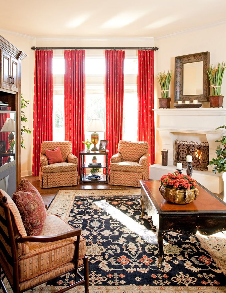 Decorative Burnt Orange Curtains Panels Decorating Ideas In Family Room Traditional Design With Beige