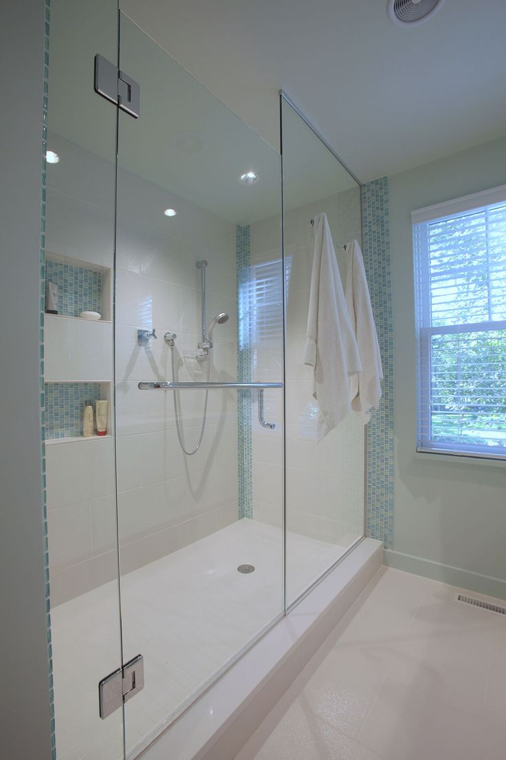 Genial Custom Built Cape Cod Bathroom With Blue Accent Tiles And White Tile Shower  Floors To Contribute