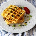 Puff Pastry Waffles Recipe with Goat Cheese an Honey