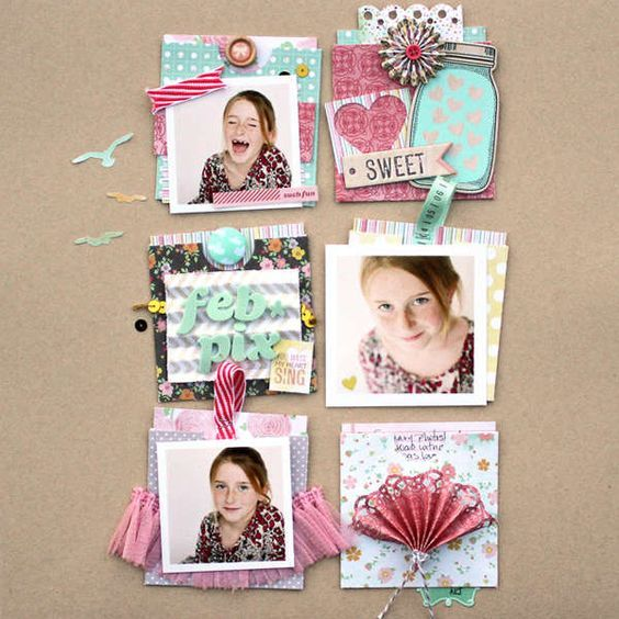 #papercraft #Scrapbook #layout   Love the groupings on this and the kraft background! (scrapbook.com)
