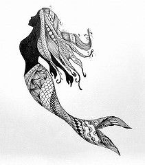 mermaid (Earl Grey Sin) Tags: silhouette pen ink doodle mermaid zentangle vision:mountain=0543 vision:outdoor=0963