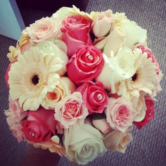 Coral peach ivories pinks and diamanté bouquet