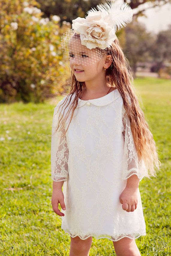 Holiday Dress Girls Lace Christmas dress White Wedding Flower ...