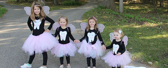 A whole army of tooth fairies! Easy homemade costume for girls!