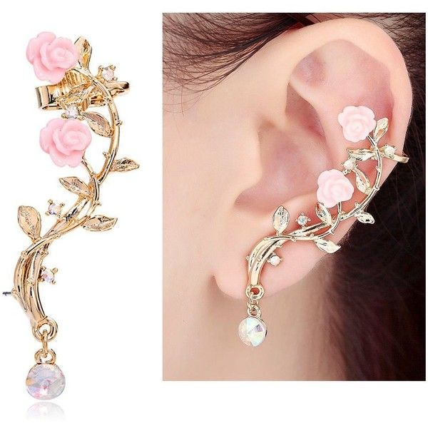 CIShop Pink Rose Diamond Ear cuff Earrings stud Punk Style Ear... ($22) ❤ liked on Polyvore