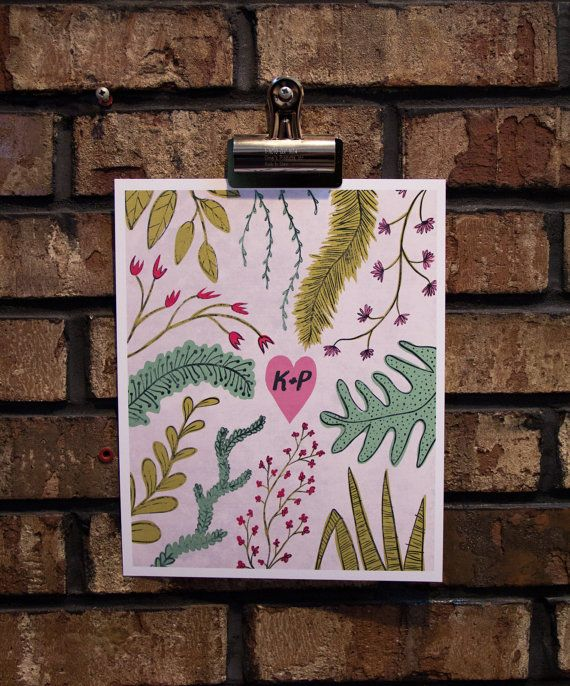 Happy Valentine's Day – Personalized Flora & Fauna Print