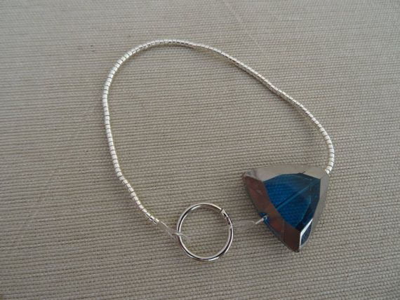 Clear Blue Triangle and Silver Bracelet Item by YoungOliveJewelry