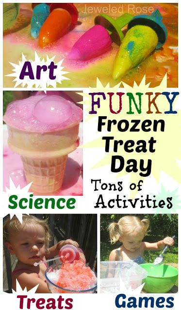 Summer Fun with frozen treats- TONS of activities to keep kids busy and having fun!  MAGIC popsicle painting, erupting ice creams, a snow cone sensory shop, scooping races, games, & MORE!  So many fun ideas in this post!
