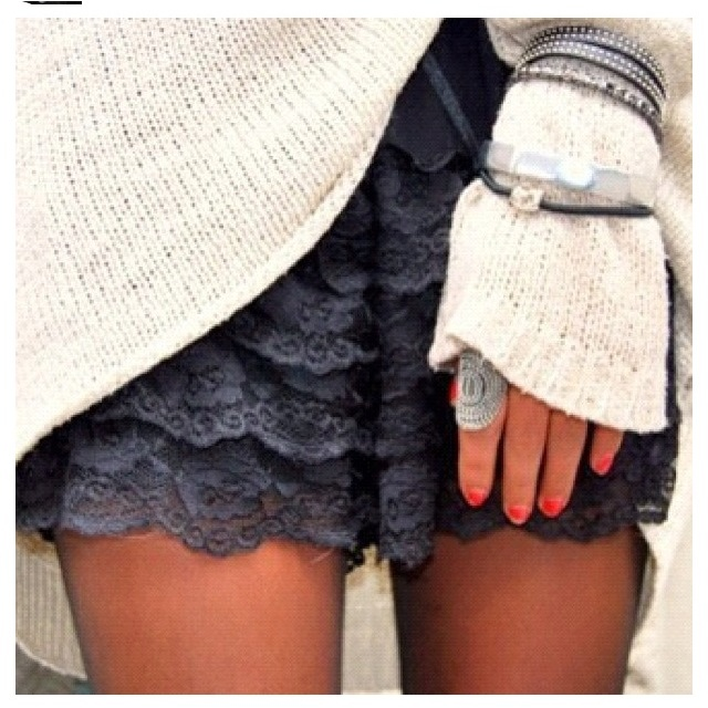 Lace: Black Lace, Bracelets, Over Sweaters, Outfit, Laceskirt, Cozy Sweaters, Lace Shorts, Chunky Knits, Lace Skirts