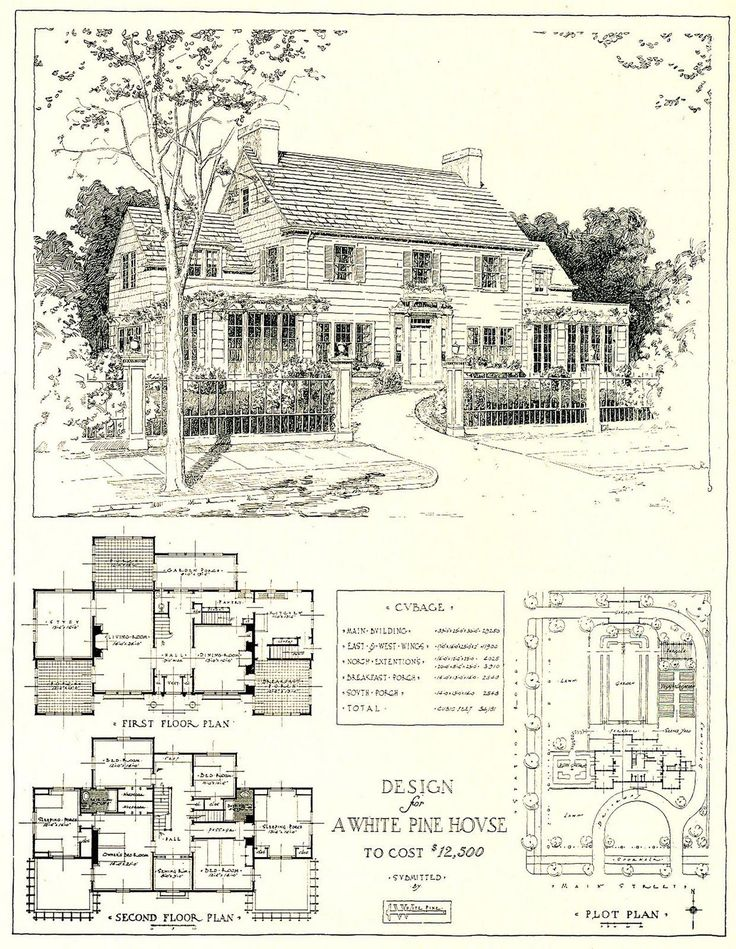 1917 Architectural Design For A White Pine House Costing USD The Link Includes Scanned Floor Plans Plot Plan And Details