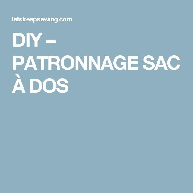 DIY – PATRONNAGE SAC À DOS