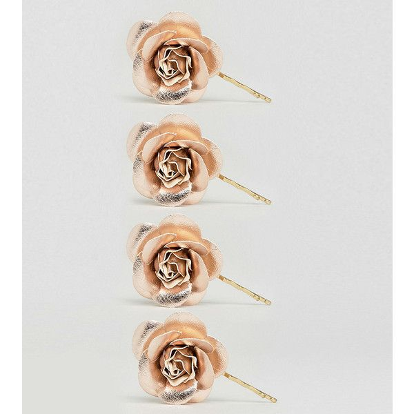 ASOS Pack of 4 Rose Gold Faux Leather Hair Clips ($12) ❤ liked on Polyvore featuring accessories, hair accessories, copper, asos, rose hair accessories, rose gold hair clip, hair clip accessories and prom hair accessories