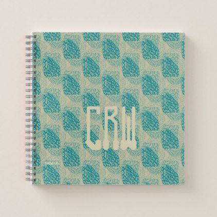 Teal Ivory Modern Graphic Design Monogram Template Notebook - modern gifts cyo gift ideas personalize