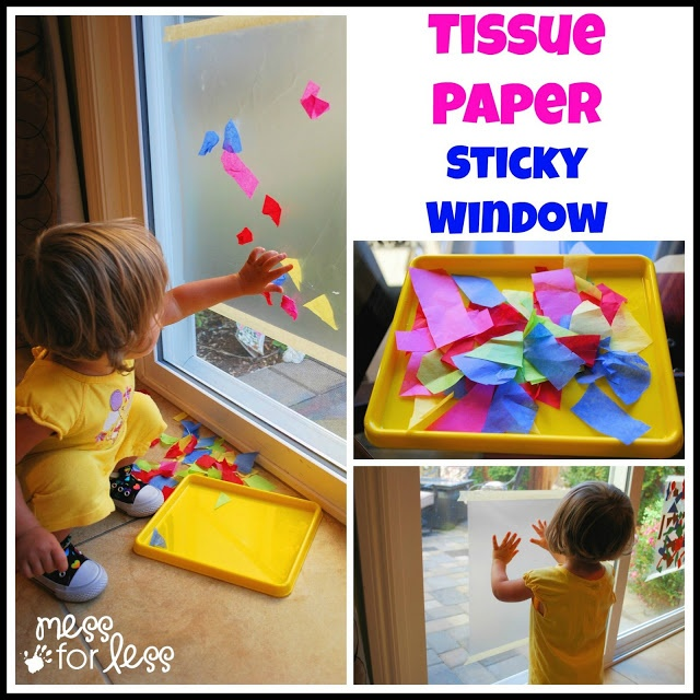 Contact Paper Art - Create a sticky window using contact paper and tissue paper. Fabulous sensory idea! Children will be able to layer the colors and explore what colors mix to make new colors.