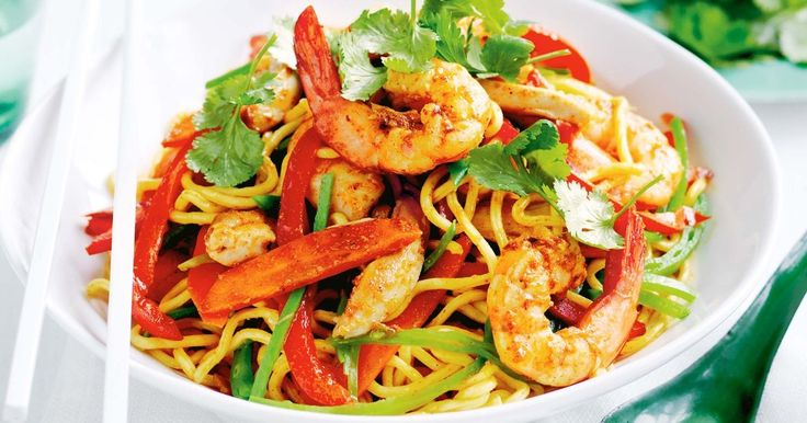 For a quick 30-minute meal try this speedy chicken and prawn stir-fry made with noodles and seasonal vegetables.