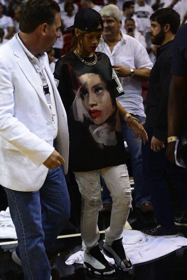 Rihanna wearing Air Jordan XIII « He Got Game »