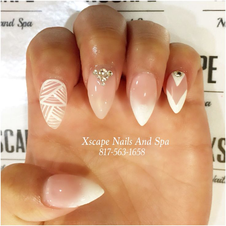Perfect French Manicure On Pointy Nails Ensign - Nail Art Design ...