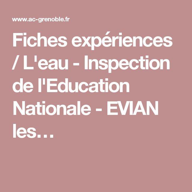 Fiches expériences / L'eau - Inspection de l'Education Nationale - EVIAN les…