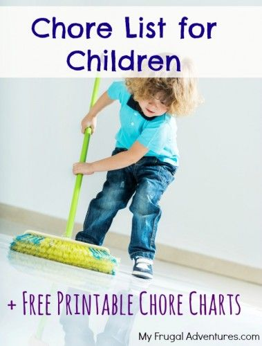 Chore chart for children. Maybe these would be a little more realistic. No carrying firewood on these lists.
