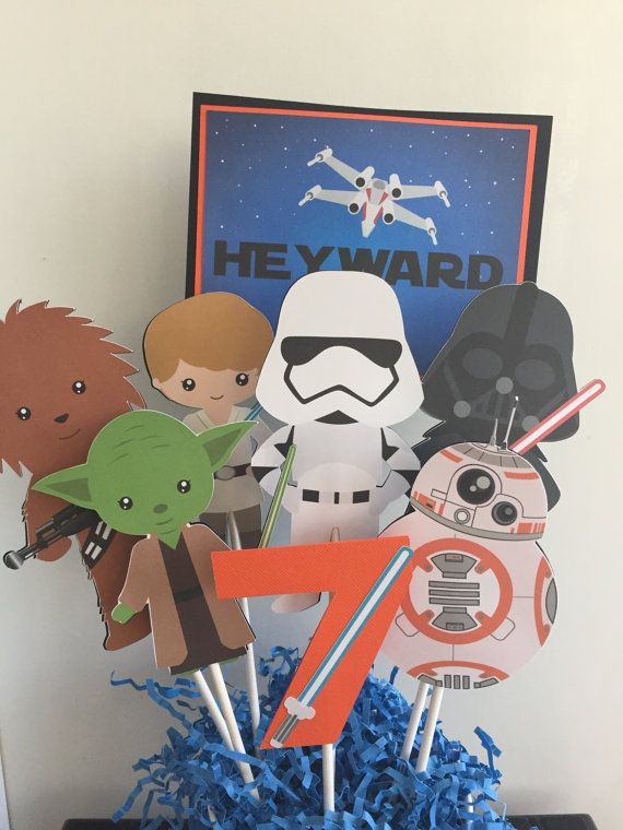 "All orders are custom made and shipped the week before your event or sooner.  Please see shop announcement for an update on delivery times.    Clip art found at OneStopDigital.    This listing is for a Star Wars center piece or cake topper and includes the four pieces shown:    Name Sign Personalized with first name ~ 5"" on an 11"" stick.   Any age  ~ 5"" on an 6"" stick  6 characters ~  5"" on 8"" sticks.    This centerpiece can be customized however you like. Just send me a convo and let me…"