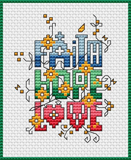 Dimensions Cross Stitch Patterns Free | chart faith hope love colors 8 dmc stitches 45 x 55 dimensions 3